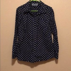 Navy blue and white polka dot long sleeve